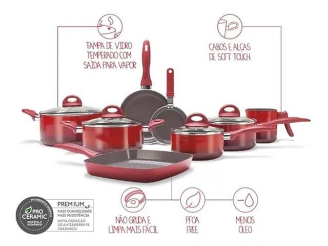Imagem de Jogo De Panelas Cerâmica 8 Pçs Ceramic Smart Plus - Brinox