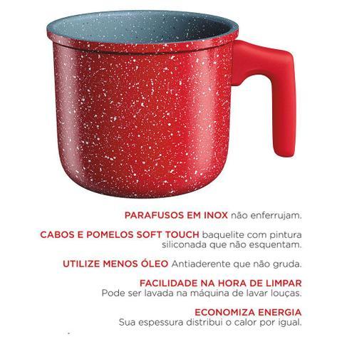 Imagem de Jogo de Panelas e Leiteira ColorStone Volcano Fogão Indução Antiaderente Livre de PFOA - Euro Home