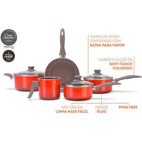 Imagem de Jogo De Panelas Easy 5 PeÇAs Antiaderente Ceramic Life Laranja Brinox 4789/109