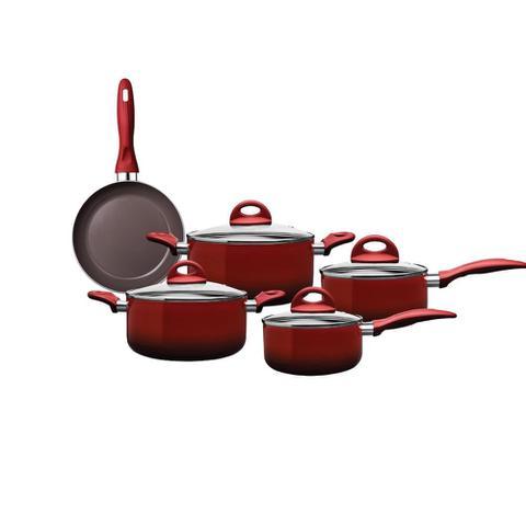 Imagem de Jogo de Panelas Granada 5 peças de Indução Vermelha Brinox