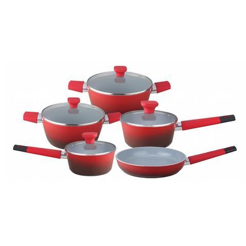 Imagem de Jogo de Panelas Inducao 5 Pecas Vermelho Revestimento Ceramico Baccani