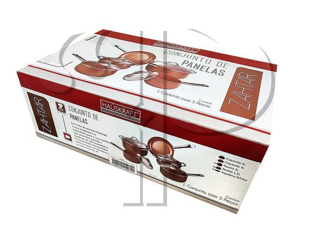 Imagem de Jogo de Panelas Indução Antiaderente Cerâmico 5 peças Hauskraft Etilux com Inmetro