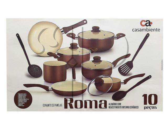 Imagem de Jogo De Panelas Roma 10 Peças Antiaderente Cerâmico Casambiente