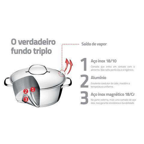 Imagem de Jogo de Panelas Tramontina Allegra Aço Inox Fundo Triplo 4 Peças + Faqueiro 16 Peças Inox 65650/243