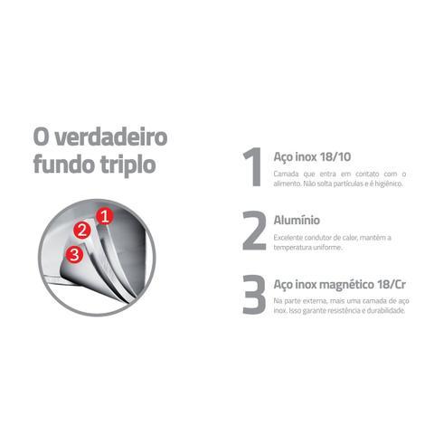 Imagem de Jogo de Panelas Tramontina Brava Baquelite 4 Peças em Aço Inox com Fundo Triplo 65180310