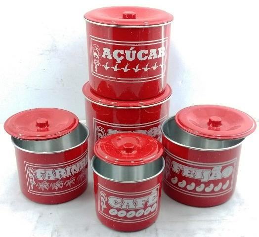 Imagem de Jogo De Potes De Mantimentos Em Aluminio Na Cor Vermelha Com 5 Peças