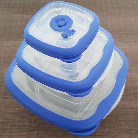 Imagem de Jogo de Potes Plástico Herméticos Quadrado com Tampa Sanremo