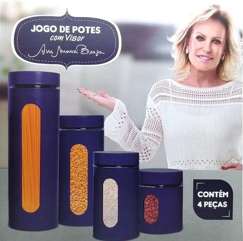 Imagem de Jogo De Potes Porta Mantimentos Ana Maria Braga 4pc Azul