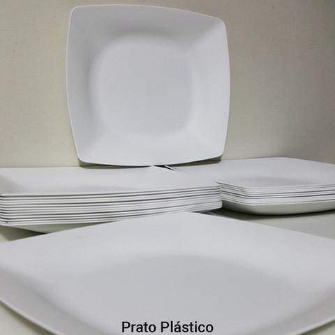Imagem de Jogo de Pratos 10 Peças Quadrado Plástico Rígido Lanche Festa Buffet 24x24cm Cor Branca