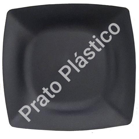 Imagem de Jogo de Pratos 10 Peças Quadrado Plástico Rígido Lanche Festa Buffet 24x24cm Cor Preta