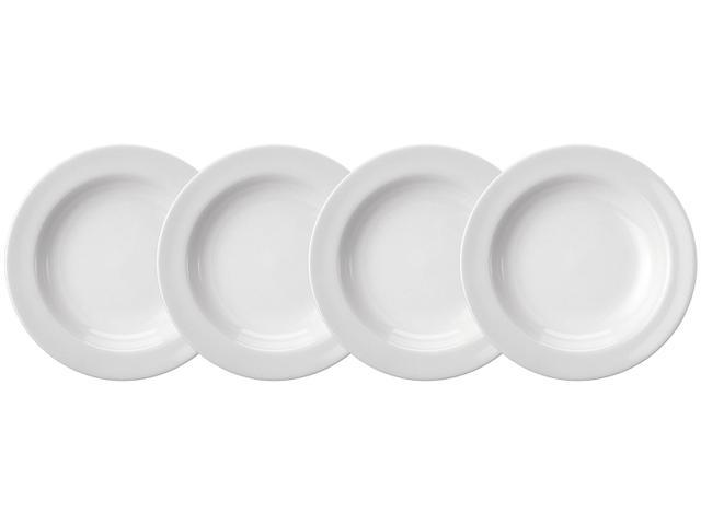 Imagem de Jogo de Pratos de Porcelana Redondo Branco Fundo