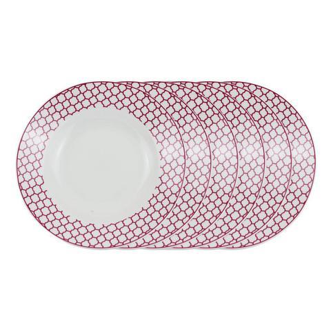 Imagem de Jogo de pratos fundo em porcelana Casambiente Agatha 20cm rosa 6 peças