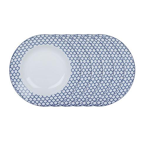 Imagem de Jogo de pratos fundos em porcelana Casambiente Agatha 20cm azul 6 peças