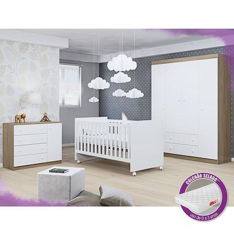 Imagem de Jogo De Quarto Helena Com Guarda Roupa + Cômoda + Berço Mini Cama 100 + Colchão - Phoenix Baby