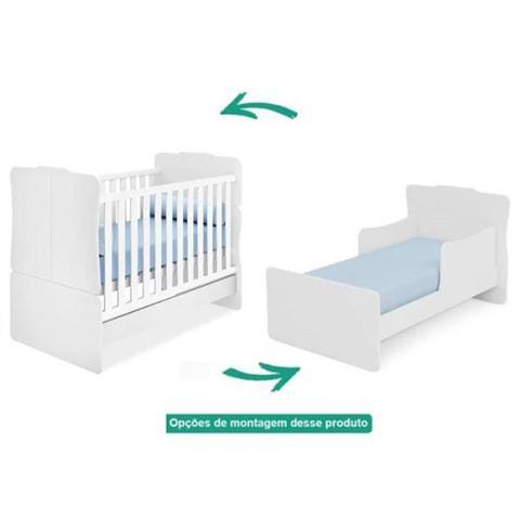 Imagem de Jogo de Quarto Infantil de Bebê Completo Helena Roupeiro + Cômoda + Berço Mini Cama Amore Branco C/ Colchão - Phoenix Ba