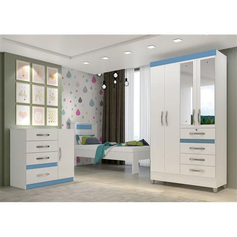 Imagem de Jogo De Quarto Solteiro Roupeiro 4 Portas Com Espelho Moval Branco Azul