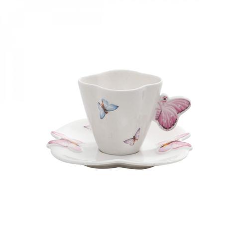 Imagem de Jogo de Xícaras de Café com Pires Porcelana 12 Peças 100ml Borboletas Rojemac Branco