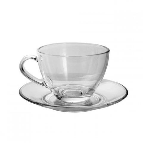 Imagem de Jogo de Xícaras de Chá com Pires de Vidro 238ml 12 Peças Rojemac Transparente