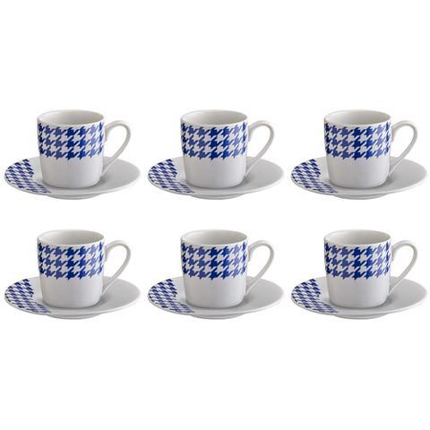 Imagem de Jogo de xícaras para café em porcelana HausKraft 6 peças azul/branco