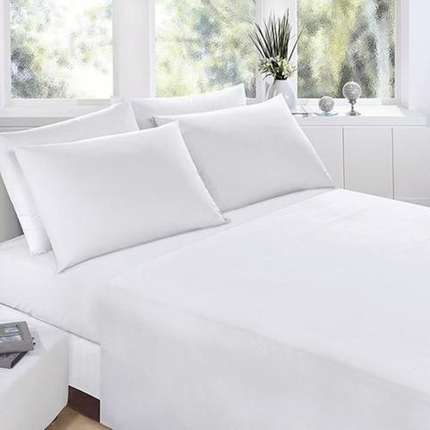 Imagem de Jogo lençol cama casal 4 peças percal 200 fios 100% algodão - branco - casal