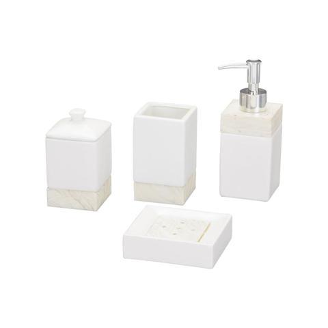 Imagem de Jogo Para Banheiro 4 Peças  Cerâmica Branco Clear Prestige