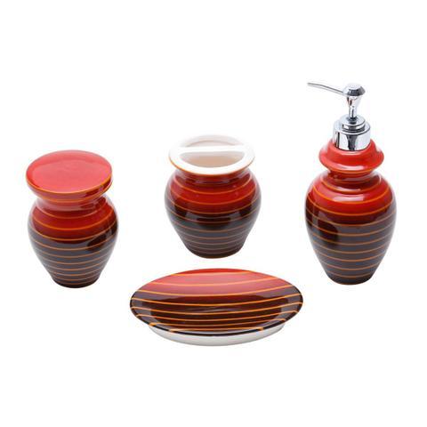 Imagem de Jogo Para Banheiro 4 Peças Cerâmica Vermelho E Preto Prestige
