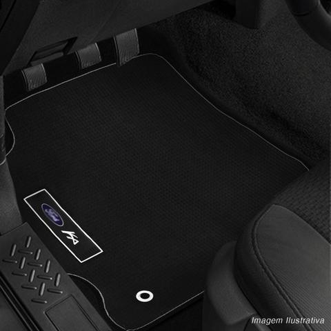 Imagem de Jogo Tapete Borracha PVC Ford Ka Hatch Ka+Sedan 15 a 18 Preto com Grafia Emblema Impermeável 5 Peças
