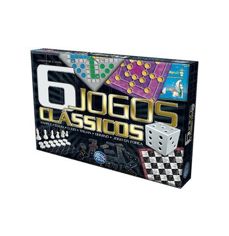 Imagem de Jogos classicos com 6 pecas xadrez / dama / ludo / domino / forca / trilha
