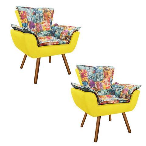 Imagem de Kit 02 Poltrona Decorativa Opala Suede Composê Estampado Street D05 e Suede Amarelo - D'Rossi