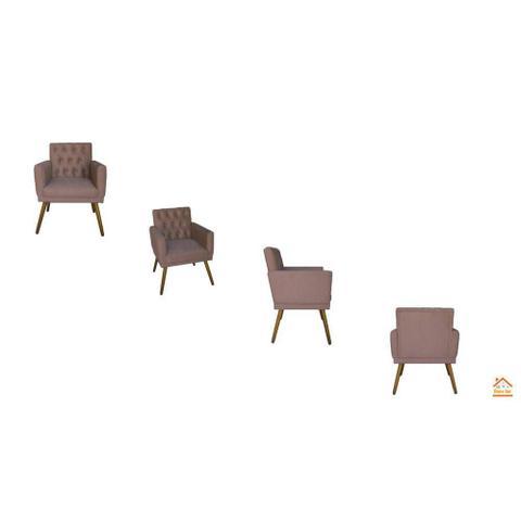 Imagem de Kit 02 Poltronas Decorativa Em Captonê Emilia Suede Rosê - DL DECOR