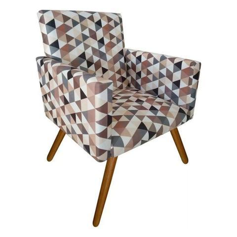 Imagem de Kit 02 Poltronas Decorativa Nina com e Puff Redondo Triângulos Bege