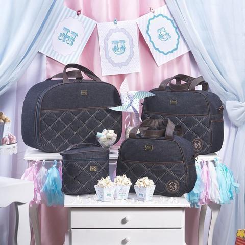 Imagem de Kit 03 Bolsas Maternidade Versinho Jeans Azul Marinho - Hug Baby