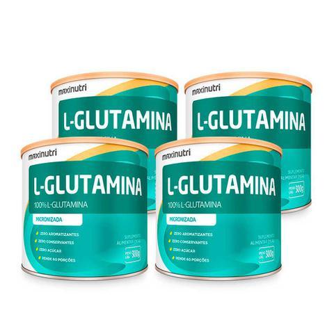 Imagem de Kit 04 Aminoácido L-Glutamina 300g 100% Pura Loja Maxinutri