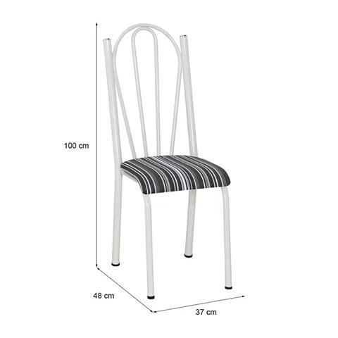 Imagem de Kit 04 Cadeiras Tubular Branca 021 Assento Preto Listrado