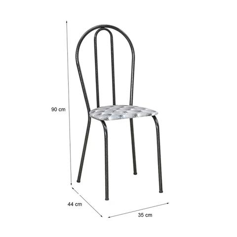Imagem de Kit 04 Cadeiras Tubular Cromo Preto 004 Assento Capitone