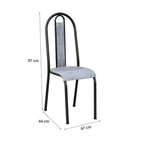Imagem de Kit 04 Cadeiras Tubular Cromo Preto 058 Assento Grafiato