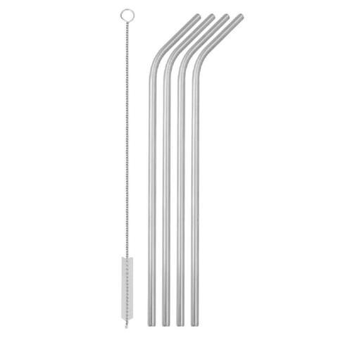 Imagem de Kit 04 Canudos Aço Inox Curvo 01 Escova Metal Reutilizável