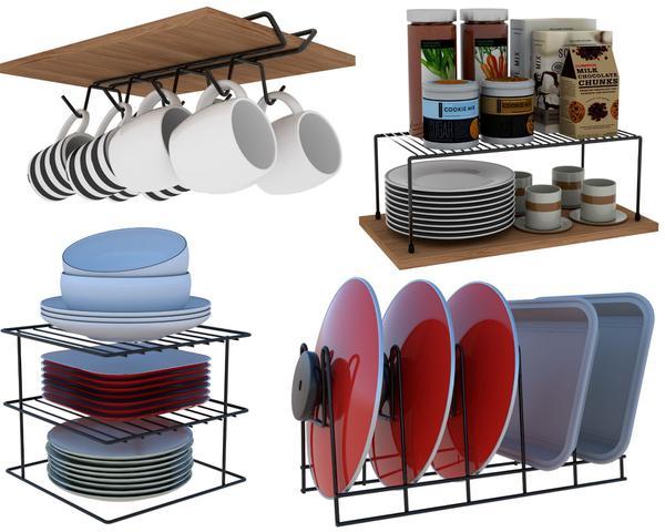 Imagem de Kit 04 Organizador Armário Cozinha Xícara Panela Prato Aço - Branco