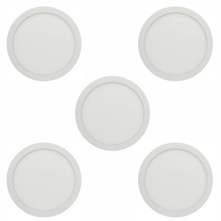Imagem de Kit 05 pecas - plafon led redondo embutir 24w branco frio 6500k bivolt