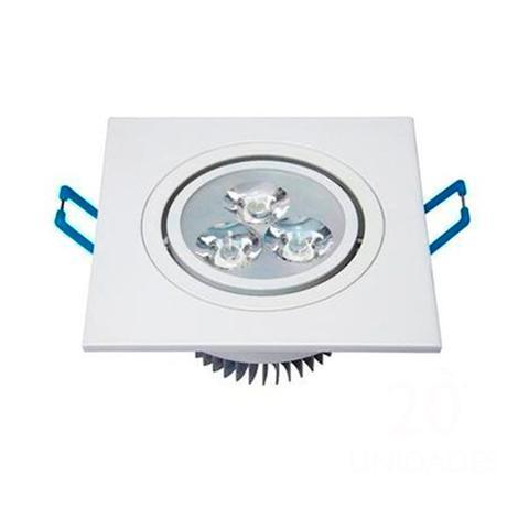 Imagem de Kit 05 peças Spot LED 3w Quadrado direcionável Branco Frio 6500k - Aro branco