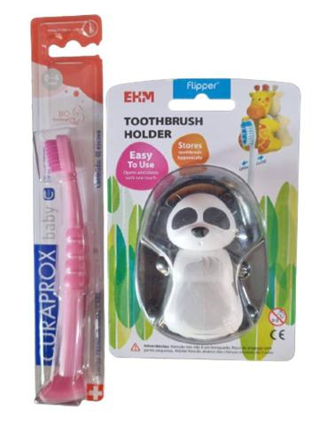 Imagem de Kit 1 esc dental infantil  curakid curaprox  + 1 porta esc pinguim