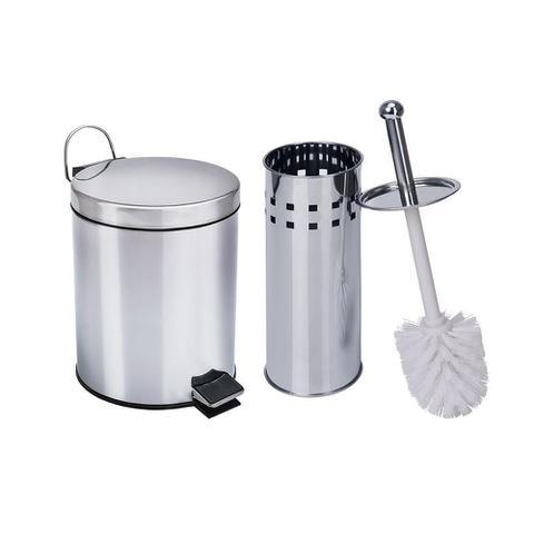 Imagem de Kit 1 Lixeira aço inox 5 Litros e 1 escova sanitária Travel Max