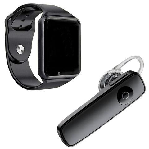 Imagem de Kit 1 Relógio SmartWatch A1 Preto + 1 Fone De Ouvido Sem Fio Bluetooth Headset Preto
