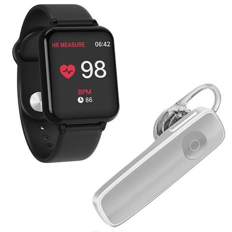 Imagem de Kit 1 Relógio Smartwatch B57 Hero Band 3 Preto + 1 Fone De Ouvido Sem Fio Bluetooth Headset Branco