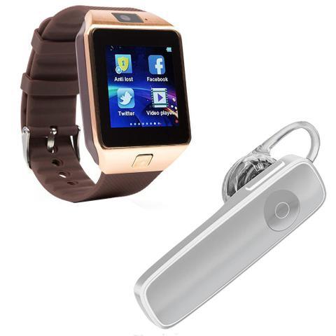 Imagem de Kit 1 Relógio SmartWatch DZ09 Dourado + 1 Fone De Ouvido Sem Fio Bluetooth Headset Branco