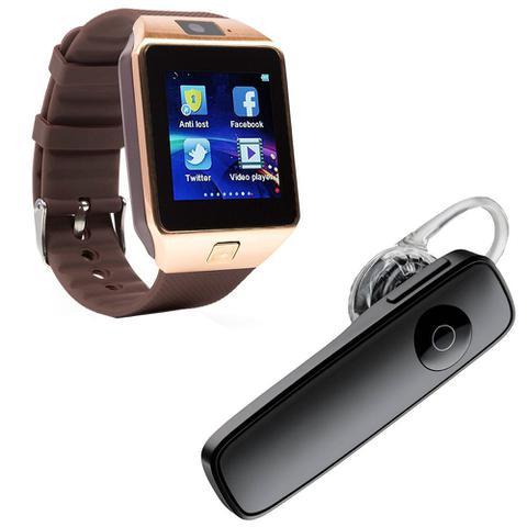 Imagem de Kit 1 Relógio SmartWatch DZ09 Dourado + 1 Fone De Ouvido Sem Fio Bluetooth Headset Preto