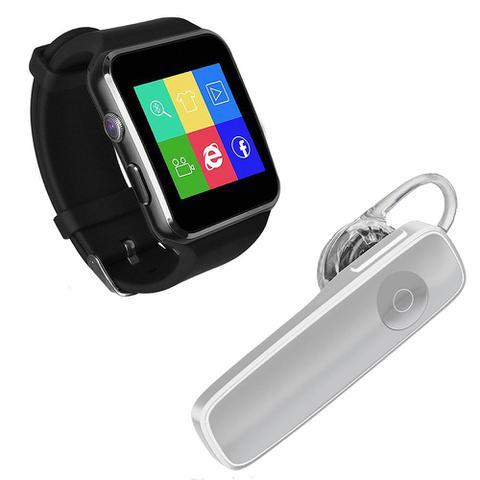 Imagem de Kit 1 Relógio SmartWatch X6 Preto + 1 Fone De Ouvido Sem Fio Bluetooth Headset Branco