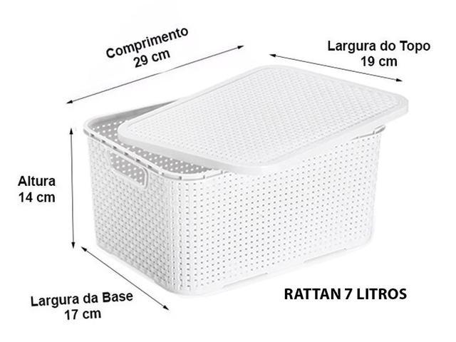Imagem de Kit 10 Caixas Organizadora Rattan 7 Litros C/ Tampa Branca