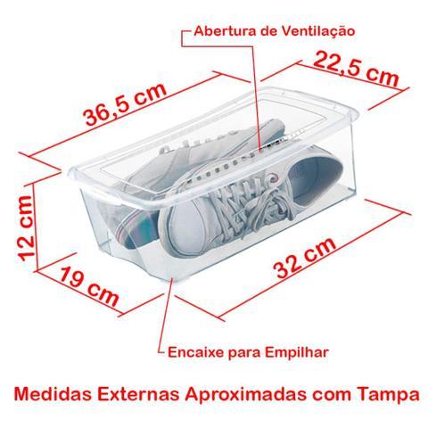 Imagem de Kit 10 Caixas Organizadoras para Sapatos 36x22x12 cm Modelo 1816 Grande Organizador Arthi