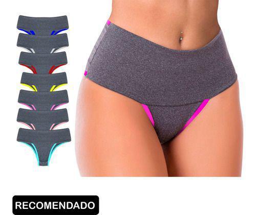 Imagem de Kit 10 Calcinha Fitness Top Cós Duplo Alto Segura Barriga Atacado